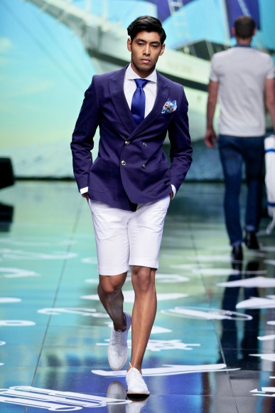 Nautical casual wear blends effortlessly with soft tailoring to create